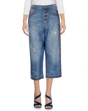 Джинсовые брюки-капри LANEUS. Цвет: синий