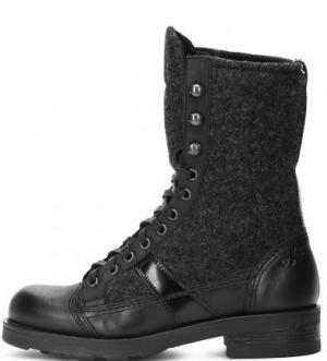 Демисезонные ботинки из натуральной кожи и текстиля O.X.S.. Цвет: черный