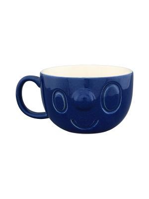 Кружка Мордашка синяя Elan Gallery. Цвет: синий