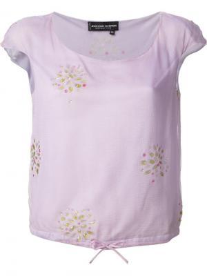 Прозрачная блузка с бусинами Jean Louis Scherrer Vintage. Цвет: розовый и фиолетовый