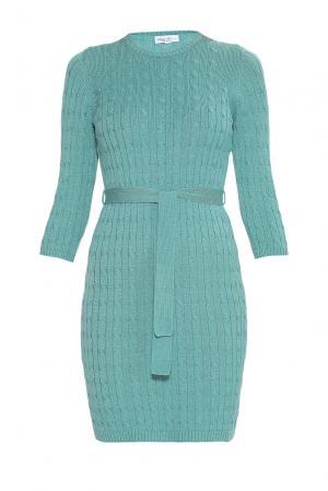 Платье из шерсти с поясом 181143 Andre Maurice. Цвет: зеленый