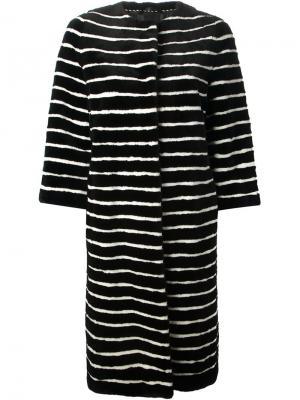 Пальто в полоску Liska. Цвет: чёрный