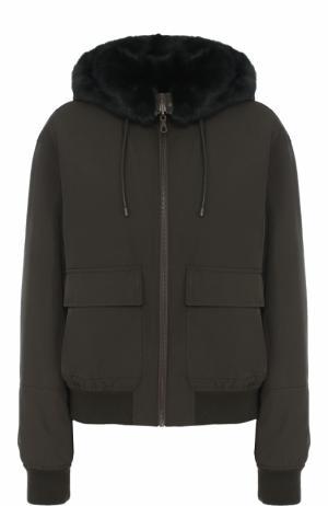 Куртка на молнии с меховой отделкой из норки Army Yves Salomon. Цвет: хаки