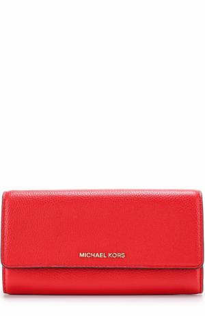 Кошелек из сафьяновой кожи с клапаном MICHAEL Kors. Цвет: красный