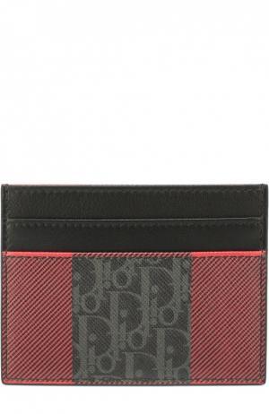 Кожаный футляр для кредитных карт Dior. Цвет: серый