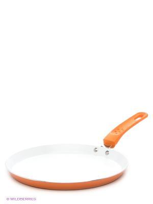 Сковорода блинная, 24 см Bekker. Цвет: оранжевый, белый