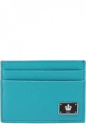 Кожаный футляр для кредитных карт Dolce & Gabbana. Цвет: бирюзовый