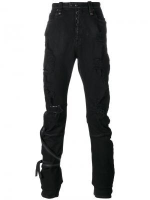 Рваные обтягивающие джинсы Unravel Project. Цвет: чёрный