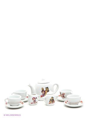 Набор посуды Играем Вместе Маша и Медведь, керамика, 11 предметов.. Цвет: белый, розовый