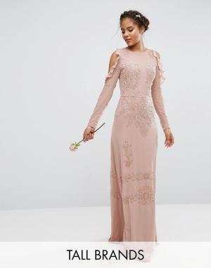 Maya Tall Платье макси с открытыми плечами и пайетками. Цвет: розовый