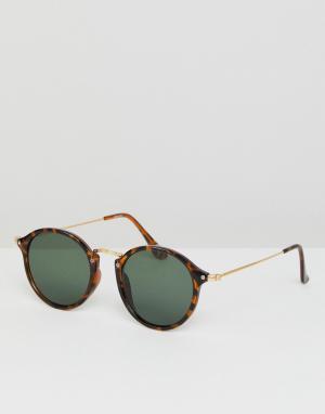 ASOS Круглые солнцезащитные очки в черепаховой оправе с зелеными стеклами A. Цвет: коричневый