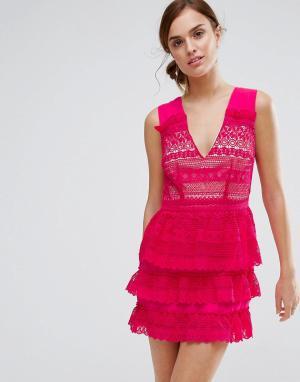 Little White Lies Платье с многоярусной юбкой Rory. Цвет: розовый