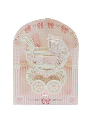 Объемная открытка  Коляска для девочки Даринчи. Цвет: розовый