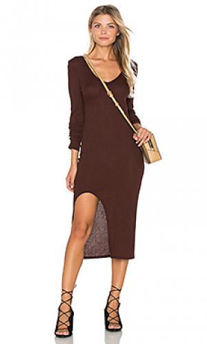 Платье из ткани в рубчик autumn twenty. Цвет: коричневый