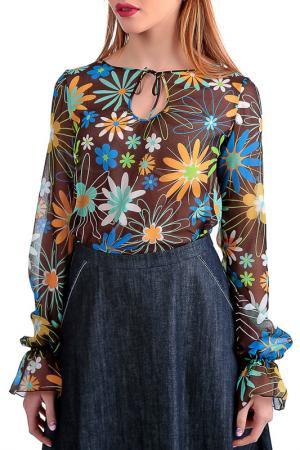 Блузка Энсо. Цвет: коричневый