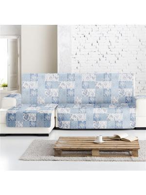 Накидка на угловой диван Йорк печворк, левый угол Медежда. Цвет: серо-голубой