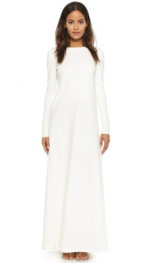 Макси-платье с длинными рукавами AD. Цвет: белый