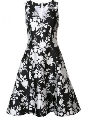 Расклешенное платье с цветочным рисунком Oscar de la Renta. Цвет: чёрный