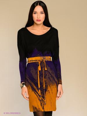 Платье Isabel de Pedro. Цвет: фиолетовый, горчичный, черный