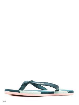 Сланцы Eezay Striped Marbl Adidas. Цвет: зеленый