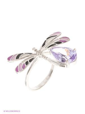 Кольцо МАРКАЗИТ. Цвет: серебристый, лиловый