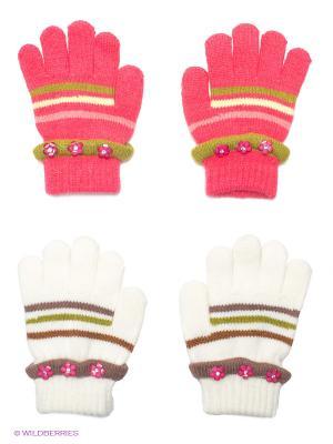 Перчатки, 2 пары FOMAS. Цвет: коралловый, белый