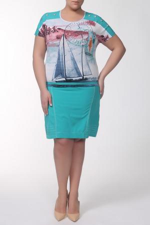 Платье QNEEL Q'NEEL. Цвет: бирюзовый