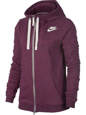 Толстовка W NSW GYM CLC HOODIE FZ 2 Nike. Цвет: красный