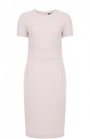 Шерстяное платье-футляр с коротким рукавом Kiton. Цвет: светло-розовый