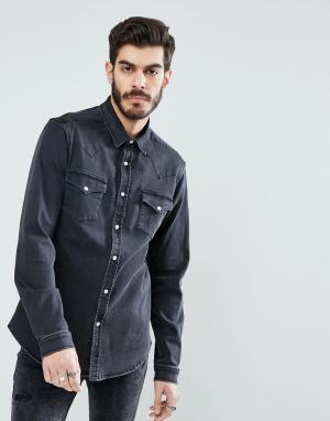 ASOS Джинсовая рубашка в стиле вестерн. Цвет: серый