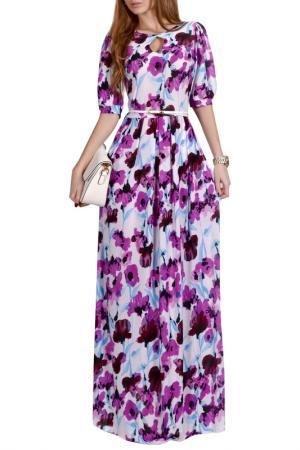 Длинной платье с принтом FRANCESCA LUCINI. Цвет: фиолетовый, акварель