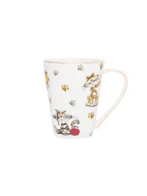 Кружка Коты - шалуны Elan Gallery. Цвет: желтый, белый, красный