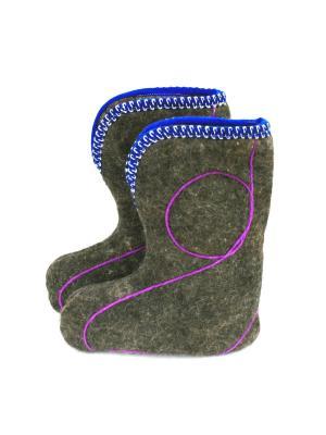 Тапочки-чуни Тефия. Цвет: коричневый, фиолетовый