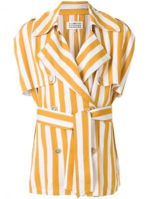 Полосатый тренч Maison Margiela. Цвет: жёлтый и оранжевый