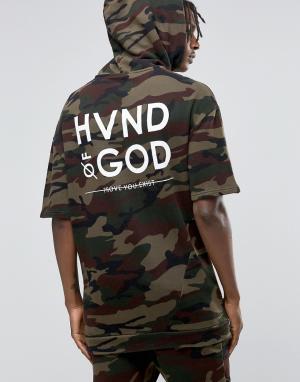 Hand of God Худи с камуфляжным принтом и короткими рукавами. Цвет: зеленый