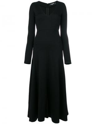 Длинное платье с V-образным вырезом Dsquared2. Цвет: чёрный