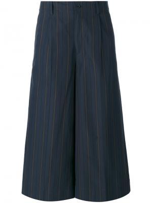 Полосатые укороченные брюки 08Sircus. Цвет: синий