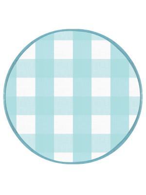 Подушка на табурет хлопок,круг 34, 2 см. DEKORTEX. Цвет: светло-голубой, белый