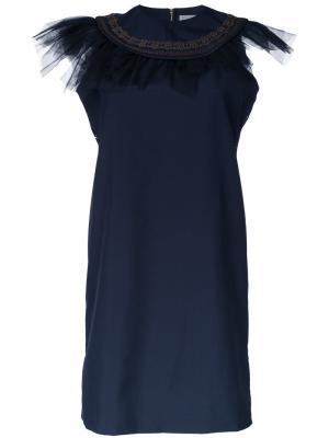 Платье с оборками на горловине Kolor. Цвет: синий