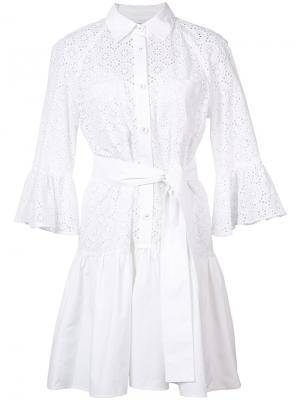 Платье-рубашка с завязками на талии Derek Lam 10 Crosby. Цвет: белый