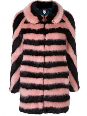 Пальто в полоску с меховым эффектом Shrimps. Цвет: чёрный