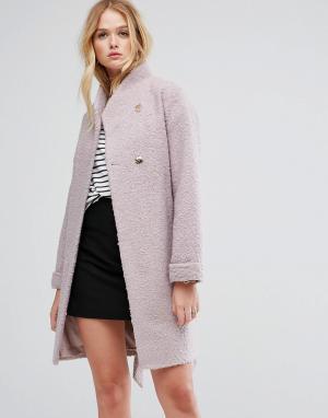 ASOS Фактурное пальто-накидка. Цвет: розовый