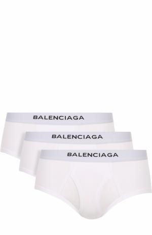 Комплект из трех хлопковых хипсов с широкой резинкой Balenciaga. Цвет: белый