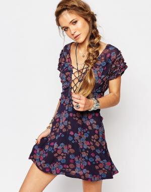 Free People Платье мини с принтом Yours Truly. Цвет: мульти