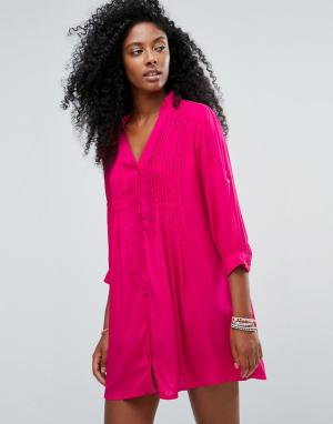 Anmol Ярко-розовое пляжное платье-рубашка. Цвет: красный