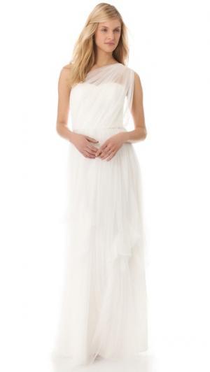Вечернее платье из тюля с открытым плечом Love, Yu. Цвет: небелоснежно белый