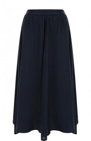 Однотонная льняная юбка-миди 120% Lino. Цвет: темно-синий