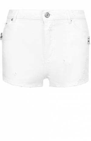 Джинсовые мини-шорты с потертостями Givenchy. Цвет: белый