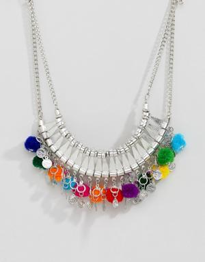 ASOS Броское ожерелье с помпонами DESIGN. Цвет: серебряный