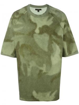 Свободная футболка с принтом Yeezy. Цвет: зелёный